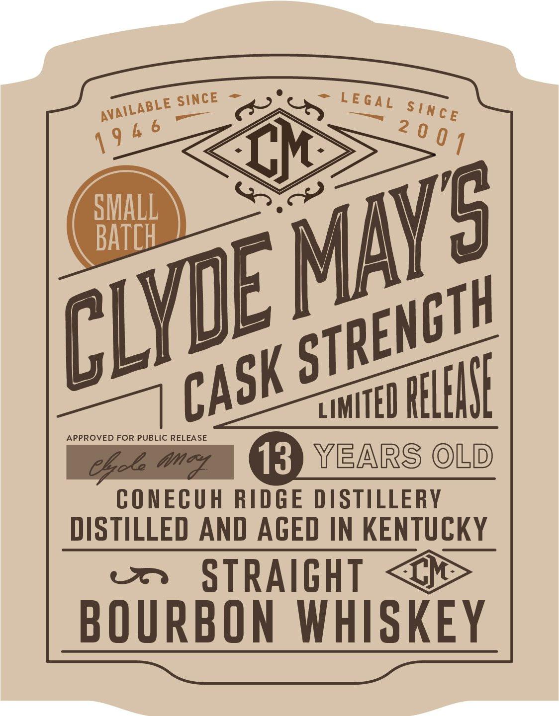 Clyde May's 13Yr Cask Strength Bourbon 750ml