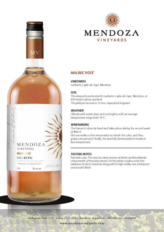 Mendoza Vineyards Malbec Rose 1.5 Ltr