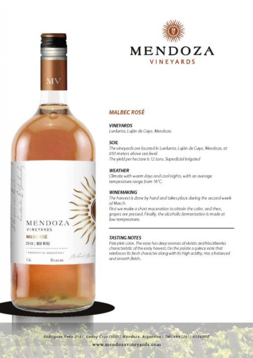 Mendoza Vineyards Malbec Rose 1.5 Ltr