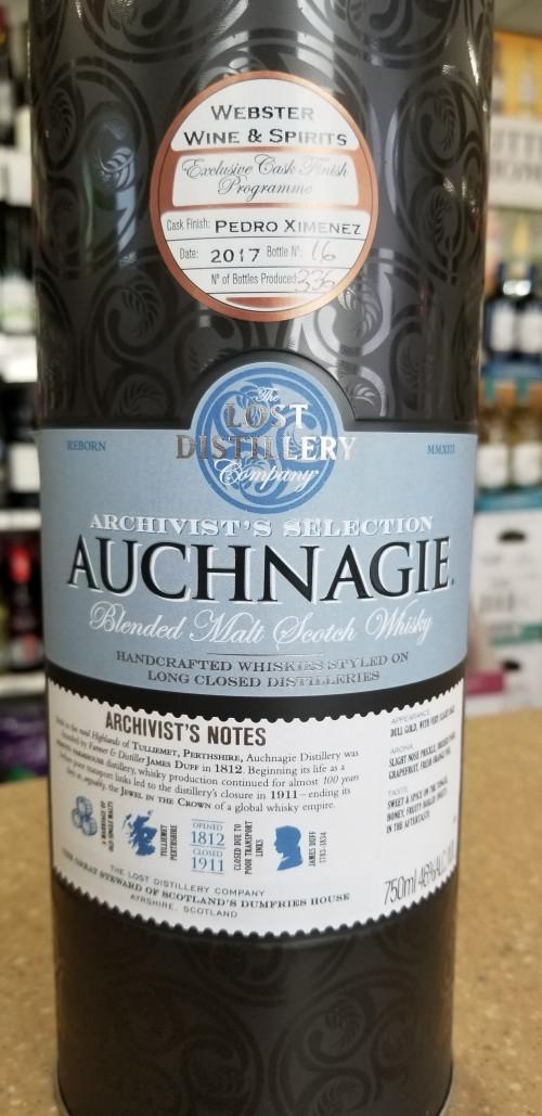 Lost Distillery Auchnagie Pedro Ximenez Finished Blended Malt Scotch-Store Selection 750ml