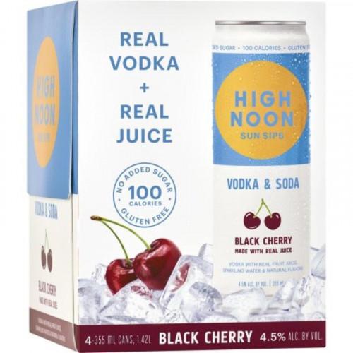 High Noon Sun Sips Black Cherry Vodka & Soda 4Pk - 355ml Cans
