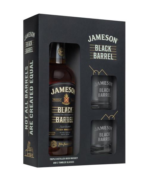 Jameson Black Barrel Irish Whiskey 750ml 2 Glass Gift Set