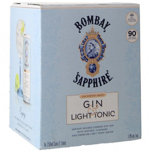 Bombay Sapphire Gin & Light Tonic 4pk - 250ml Cans