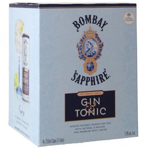 Bombay Sapphire Gin & Tonic 4pk - 250ml Cans