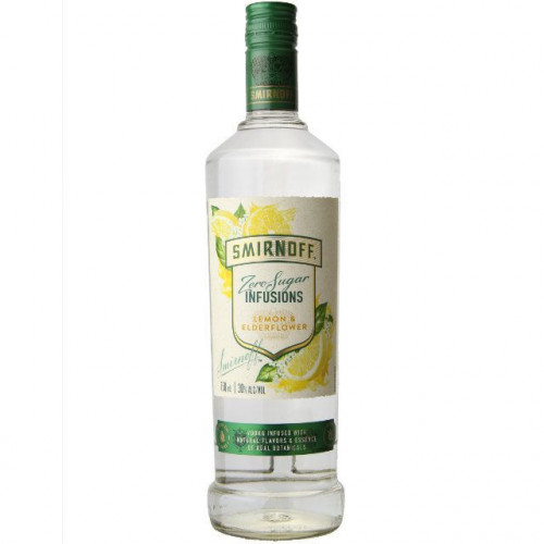 Smirnoff Zero Sugar Infusions Lemon & Elderflower Vodka 750ml